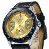 Winner Automatic Mechanical Male Watch Day Round Dial Leather Strap - GOLDEN
