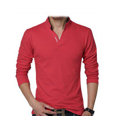 Male Slim Fitting Cotton V-neck Casual Long Sleeve T-shirt