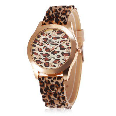 geneva Leopard Print Women Quartz Watch Rubber Band
