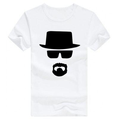 Male Slim Fitting Eyeglasses Hat Pattern Short Sleeve T-shirt