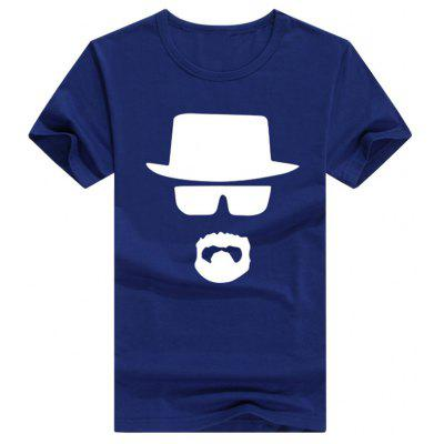 Male Slim Fitting Eyeglasses Hat Pattern Short Sleeve T-shirt в магазине GearBest