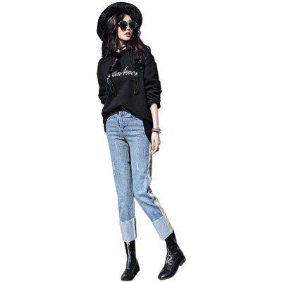 Femelle N ° Boyfriend Pants Crimping Leg Leisure Leggy Baggy