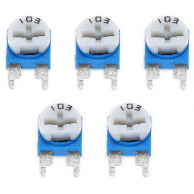 5PCS 0.1W 50V Horizontal 103 10K Ohm Adjustable Resistor