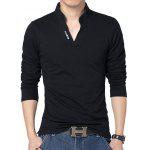 Male Slim Fitting Cotton V-neck Casual Long Sleeve T-shirt - BLACK