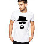 Male Slim Fitting Eyeglasses Hat Pattern Short Sleeve T-shirt - WHITE
