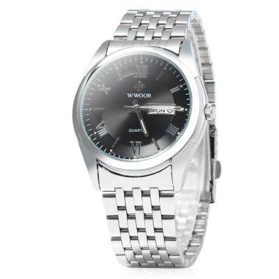 WWOOR 8802 Luminous Steel Band Quartz Watch for Men