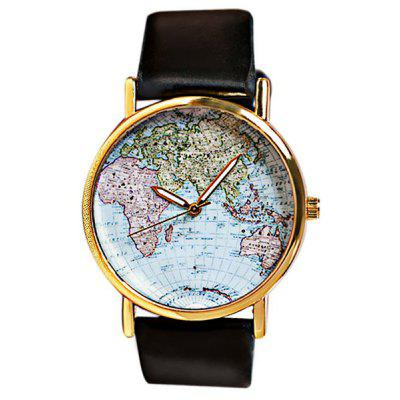 Fashion Watch with Map Patterned Design Round Dial and Leather Band for Women