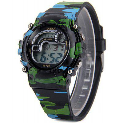 F20 Round Casual Waterproof Cold Light Sport Watch with Snooze Stopwatch Function