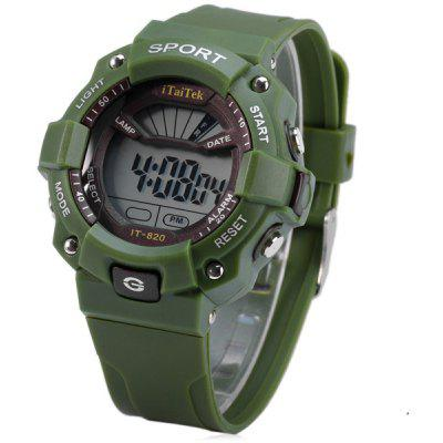 Buy GREEN iTaiTek IT 820 LED Sports LED Watch Week Date Alarm Chronograph 50M Water Resistant Wristwatch for $5.07 in GearBest store