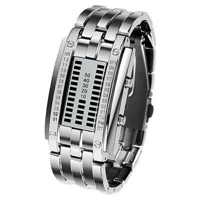 Blue LED Water Resist Watch with Week Date Display and Steel Band for Women