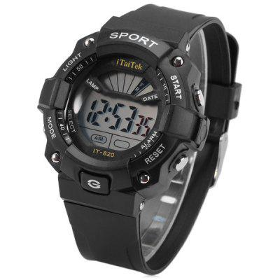 Buy BLACK iTaiTek IT 820 LED Sports LED Watch Week Date Alarm Chronograph 50M Water Resistant Wristwatch for $5.07 in GearBest store