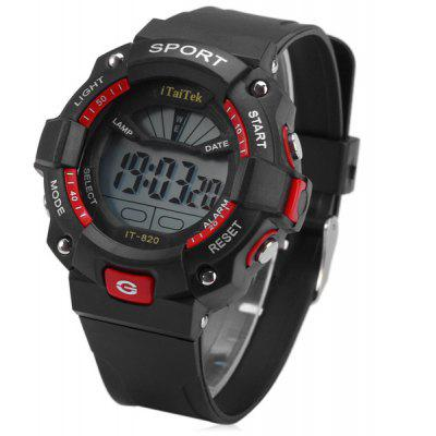 Buy RED iTaiTek IT 820 LED Sports LED Watch Week Date Alarm Chronograph 50M Water Resistant Wristwatch for $5.07 in GearBest store
