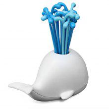 16PCS Fruit Fork with Whale Holder