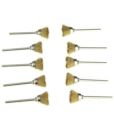 10PCS Bowl Shape Brass Wire Polishing Brush Grinder Rotary Tools