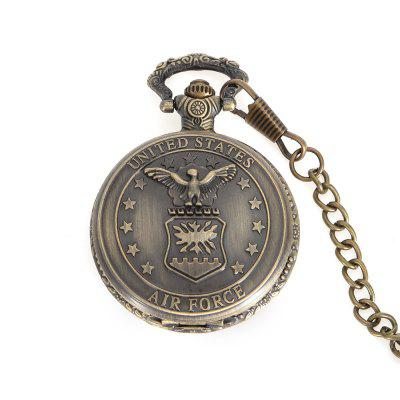 Flip Waist Chain Type Quartz Pocket Watch with Air Force Symbol