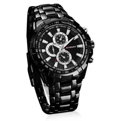 CURREN Army Watches with Round Dial and Steel Band