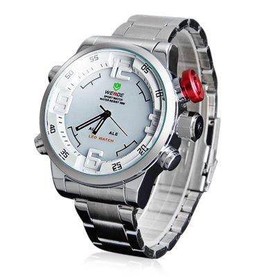WEIDE WH2309B Male Military Sports Quartz Watch 3AMT Water Resistant Double Movts Analog Digital Hidden LED Alarm Wristwatch