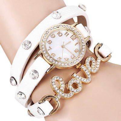 Female Love Word Quartz Wrist Chain Watch Leather Watchband Round Dial