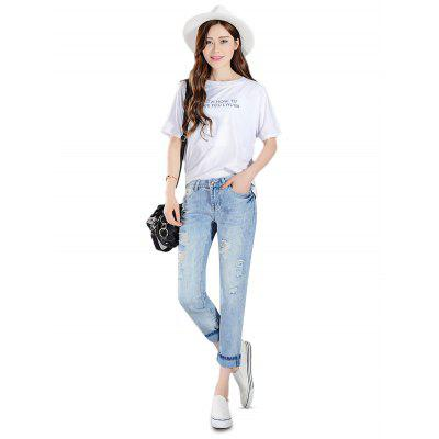 Female Ninth Pants Destroyed Leisure Boyfriend Jeans