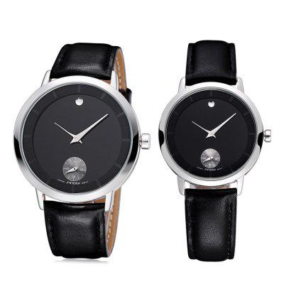 SINOBI 2652 Couple Japan Quartz Watch with Genuine Leather Band