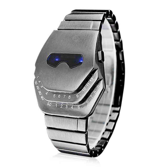 Fashion Men Blue LED Snake Head Stainless Steel Band Bracelet Wrist Watch