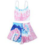 Female Gradient Flower Print Two-piece Bikini Tops Briefs - PINK