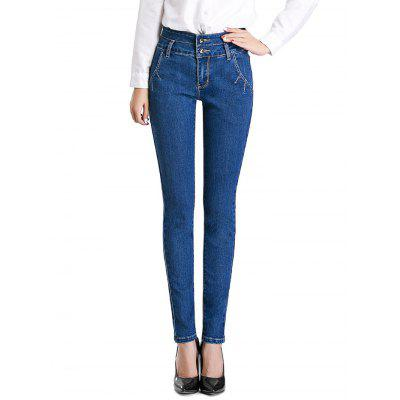 Female Slim Pants Leisure Petite Jeans with Handy Pocket