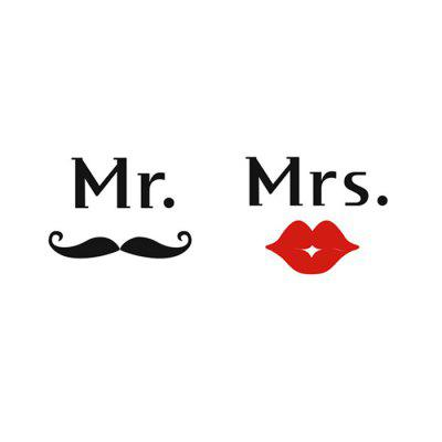 Art Mr Mustache Mrs Red Lips Shape Water Resistant Wall Decor