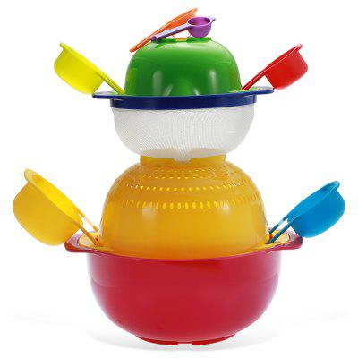 10PCS Rainbow Salad Mixing Bowls Measuring Cup Funnel Kitchen Utensils