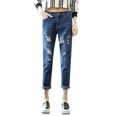 Female Loose Destroyed Ninth Pants Leisure Boyfriend Jeans