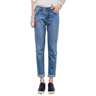 Feminino Loose Straight Ninth Pants Leisure Baggy Jeans