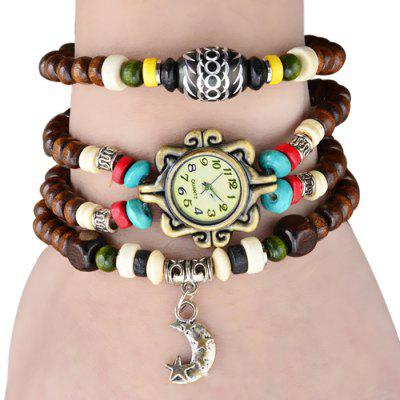 Female Wrist Quartz Watch Elastic Beads Wrist Band Round Dial Arabic Numerals Indicate