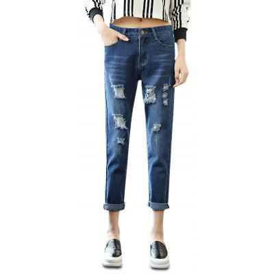 Femelle Loose Destroyed Ninth Pants Leisure Boyfriend Jeans
