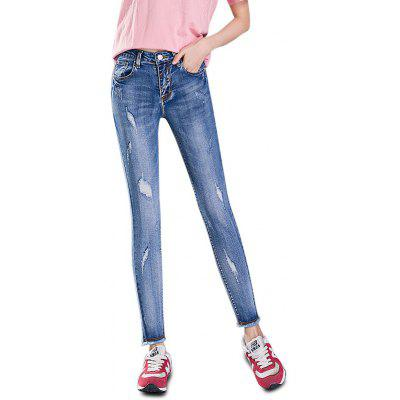 Femelle Slim Frayed Edge Destroyed Pants Leisure Petite Jeans