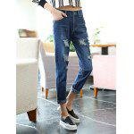 cheap Female Loose Destroyed Ninth Pants Leisure Boyfriend Jeans
