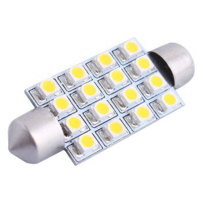 Buy 42mm 4W 16xSMD 3528 200LM 3000K Double Pointed LED for Car Reading / License Plate / Door Lamp 12V WARM WHITE LIGHT for $1.14 in GearBest store