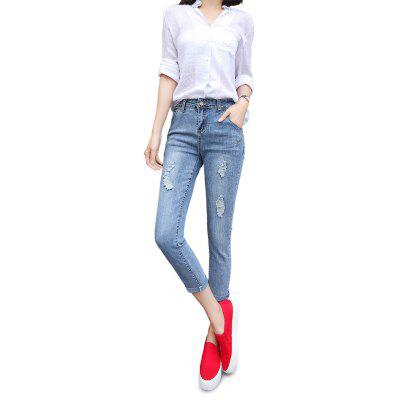 Buy LIGHT BLUE Female Destroyed Ninth Pants Elastic Close-fitting Petite Jeans for $20.01 in GearBest store