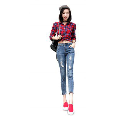 Buy DEEP BLUE Female Destroyed Ninth Pants Elastic Close-fitting Petite Jeans for $20.01 in GearBest store