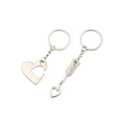2 in 1 Alloy Arrow Through Heart Key Chain Wallet Decor