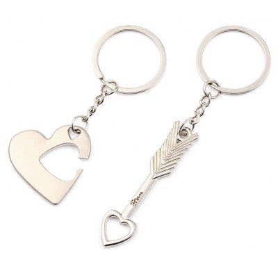 Buy SILVER 2 in 1 Alloy Arrow Through Heart Key Chain Wallet Decor for $2.52 in GearBest store