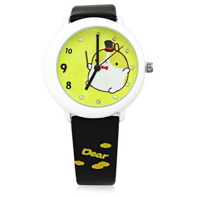 Women Men Quartz Watch with Cartoon Design Round Dial Leather Band