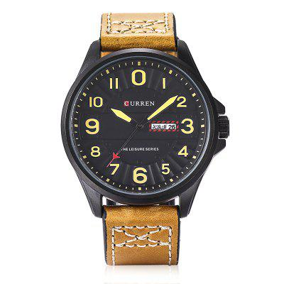 CURREN 8269 Men Quartz Watch Date Day Display Leather BandMens Watches<br>CURREN 8269 Men Quartz Watch Date Day Display Leather Band<br><br>Band material: Leather<br>Band size: 26.00 x 2.20 cm / 10.24 x 0.87 inches<br>Brand: Curren<br>Case material: Stainless Steel<br>Clasp type: Pin buckle<br>Dial size: 4.50 x 4.50 x 1.00 cm / 1.77 x 1.77 x 0.39 inches<br>Display type: Analog<br>Movement type: Quartz watch<br>Package Contents: 1 x CURREN 8269 Watch, 1 x Gift Box<br>Package size (L x W x H): 11.50 x 8.40 x 6.80 cm / 4.53 x 3.31 x 2.68 inches<br>Package weight: 0.2130 kg<br>Product size (L x W x H): 26.00 x 4.50 x 1.00 cm / 10.24 x 1.77 x 0.39 inches<br>Product weight: 0.0720 kg<br>Shape of the dial: Round<br>Special features: Date, Day<br>Watch color: Black, Brown and Grey, Brown and Black, Brown and White, Dark Coffee<br>Watch style: Fashion, Casual<br>Watches categories: Male table<br>Wearable length: 19.00 - 24.00 cm / 7.48 - 9.45 inches