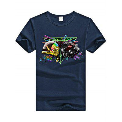 Male Creative Tops Helmet Print Short Sleeves Concert T-shirt