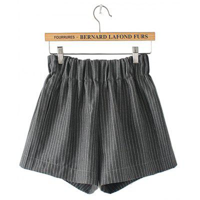 Loose Elastic Waist Pinstripe Shorts for Women