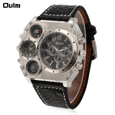 Oulm Men's Double Movt Watch Square Dial Leather Band