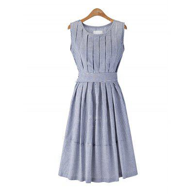 Round Collar Sleeveless Striped Women Summer Dress