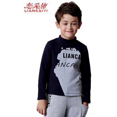 Liancaiyi Turtle Neck Long Sleeve Letter Print T-Shirt for Boy