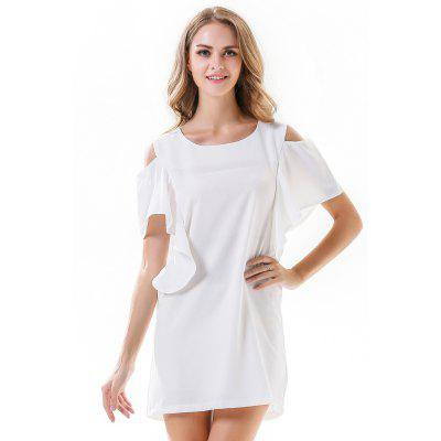 Buy Flouncing Short Sleeve Women Summer Dress WHITE XL for $22.00 in GearBest store