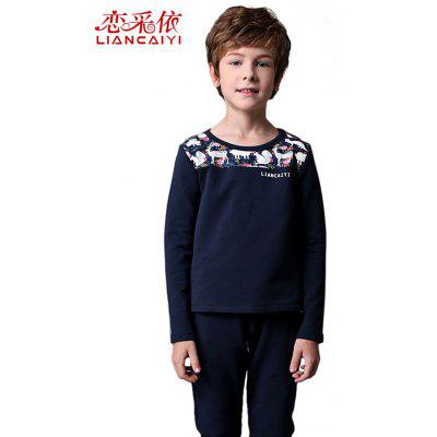 Liancaiyi Long Sleeve Printed Stitching Boy Suit