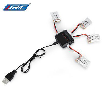 Spare 4Pcs 3.7V 250mAh 25C Battery + Balance Charger / Cable Set for JJRC JJ-1000 Quadcopter Model